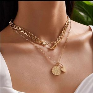 🐝 layered heart and pendant chain necklace